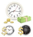 Time is money. Office Clock and Money. Vector illustration