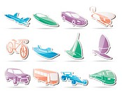 different kind of transportation and travel icons _ vector icon set