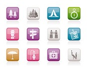 Camping, travel and Tourism icons _ vector icon set