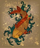 eps 10, vector japanese koi carp fish on grungy background