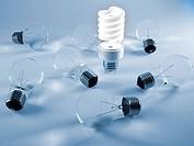 Incandescent and fluorescent lightbulbs _ 3d render illustration