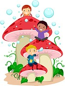 Illustration of Kids Playing Amongst Giant Mushrooms _ eps8