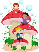 Illustration of Kids Playing Amongst Giant Mushrooms _ eps8