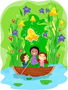 Illustration of Kids Paddling Their Way Through a Pond _ eps8