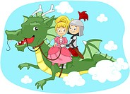 Illustration of a Knight and Princess Riding a Dragon _ eps8