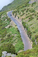 winding road and a car in the island of Madeira, Portugal