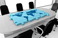 one office room with a world map made with puzzle pieces on the table 3d render