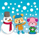 Bear siblings having fun playing outdoors with cute snowman friend on winter