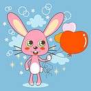 Cute bunny holding heart shaped balloons on Valentine Day