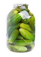 Glass jar with cucumbers on a white background