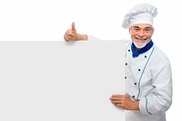 Chef presenting. Isolated on white background