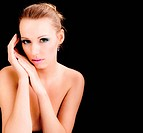 glamour woman portrait, beauty fashion female model, topless young girl face on black background with empty space for text