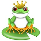 Red_Eyed Green Tree Frog Prince with Crown on Lilypad Illustration