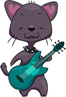 Illustration of a Cat Playing the Guitar _ eps8