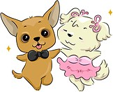 Illustration of a Pair of Dogs Dancing _ eps8