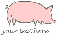 Pig, swine - stylized vector image of pink hog on white background