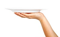 One white kitchen plate on human hand on white background