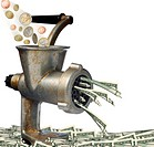 Euro and dollars. Transformation of euro into dollars on an old meat grinder