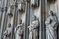 Statues on The Cathedral of the Holy Cross and Saint Eulalia or Barcelona Cathedral, Barcelona, Spain