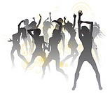 Background illustration with silhouettes of sexy beautiful women dancing