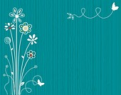 Blue spring floral greeting card. Vector file saved as EPS AI8, all elements grouped, layered, no effects, easy print.