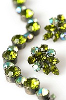 Vintage Green Costume Bracelet and Earrings