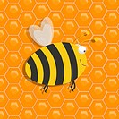 Illustration of a large honeybee over a honeycomb background