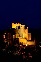 Alcazar fortress at night, Segovia, Castile and Leon, Spain