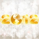 New Year background with stylized 2012 with Earth, element for design, vector illustration