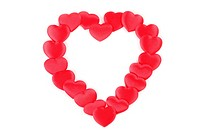 Heart made of heart shaped confetti on white background