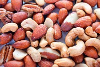 Closeup of assorted nuts ready to eat