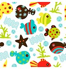 A seamless pattern of variety of fun fish character with other under water objects.