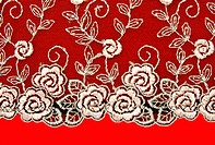 Black lace with pattern rose flowerses on red background