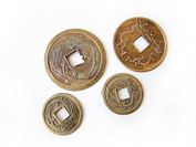 Close_up of chinese feng shui coins for good fortune and success.