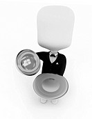 3D Illustration of a Waiter Carrying a Serving Tray