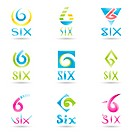 Vector illustration of Icons for number six isolated on white background
