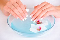 Spa treatment for female hands with beauty french finger