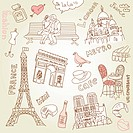 love in Paris doodles in pink and brown colours