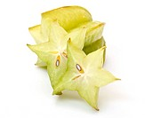 carambola with slices on white background