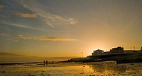 Vibrant colorful sunset over Worthing Pier on England´s South coast