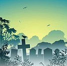 A Misty Graveyard, Cemetery with Tombstones and Crow, EPS 10, gradients and transparencies used.