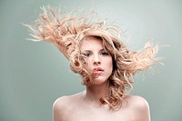 portrait curly blonde wind hair