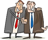 cartoon illustration of two politics shaking hands for agreement