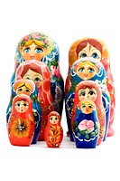 object on white _ toy wooden doll matrioshka
