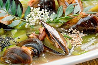 mussels with vegetable and nut.Chinese style