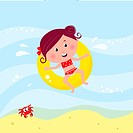 Vector cartoon illustration of cute swimming child.