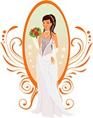 Happy bride with roses and mirror against ornament