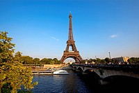 Eiffel tower seen from across the Seine river