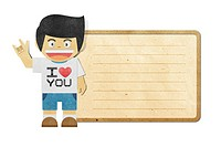 Paper boy with i love you alphabet on note recycled papercraft