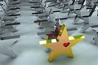 Leadership concept with golden star and many chrome spheres